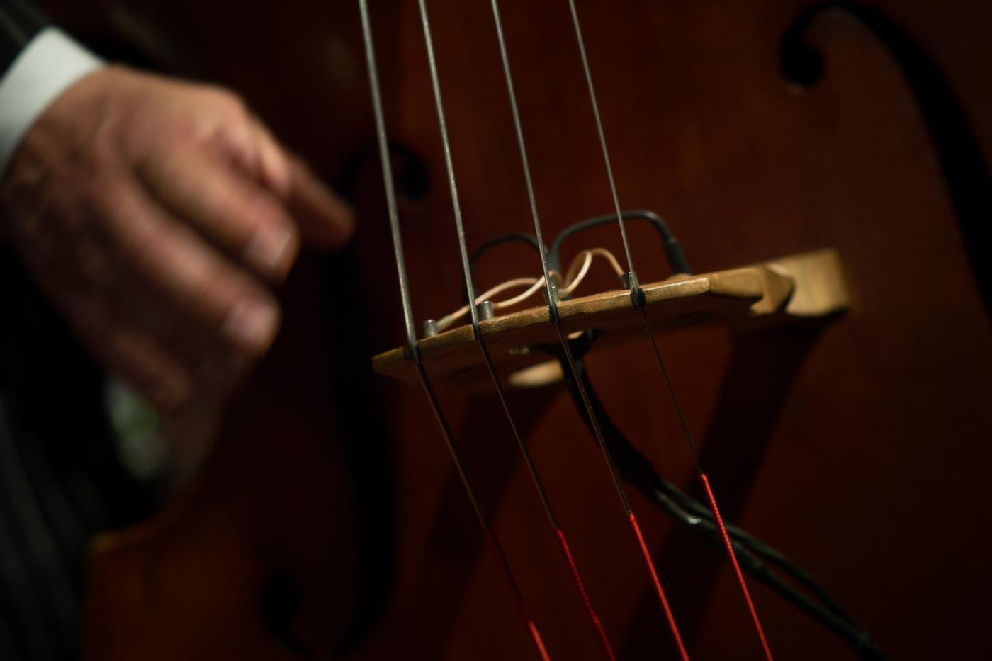 Hand zupft Saiten am Kontrabass, Detailansicht Kontrabass-Steg mit Tonabnehmer