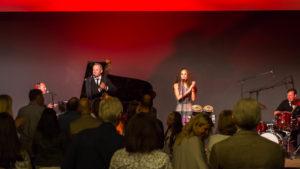 Jazz Quartett auf der Bühne mit Publikum